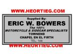 Eric W Bowers Motorcycle Dealer Decals Transfers  DDQ118
